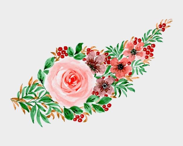 Conception d'art aquarelle florale à la main