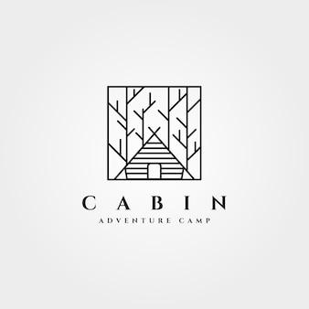 Conception D'art De Ligne Minimaliste De Logo De Forêt De Cabine Vecteur Premium