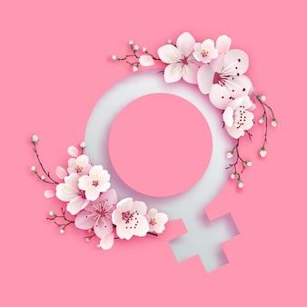 Conception d'art papier symbole femmes avec fleur de sakura