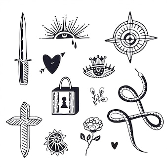 Conception d'art de tatouage. tatouage minimaliste