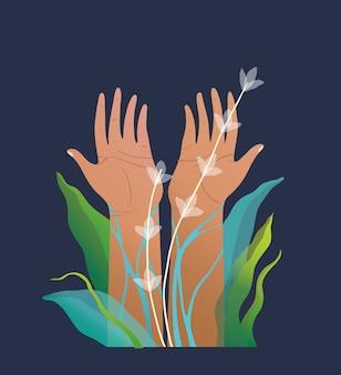 Conception artistique de dessin de mains humaines. élevé pour la paix, la protection de la nature avec un environnement floral surréaliste.