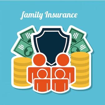Conception d'assurance au cours de l'illustration vectorielle fond bleu