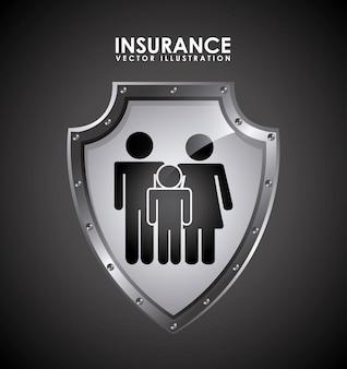 Conception d'assurance sur l'illustration vectorielle fond noir