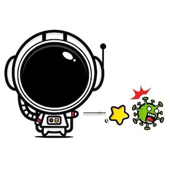 Conception d'astronaute contre le coronavirus