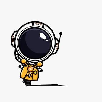 Conception d'un astronaute sur une moto