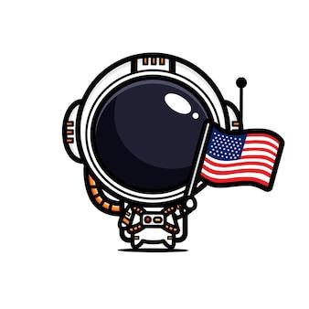 Conception d'un astronaute tenant le drapeau américain