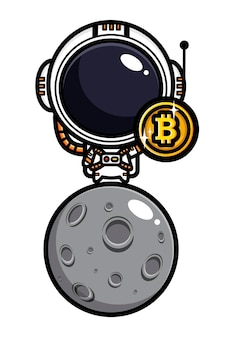 Conception d'astronautes tenant des bitcoins sur la lune