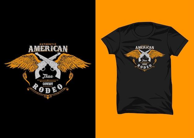 Conception authentique de tshirt de typographie de cow-boy américain