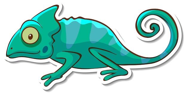 Conception d'autocollant avec caméléon lézard isolé