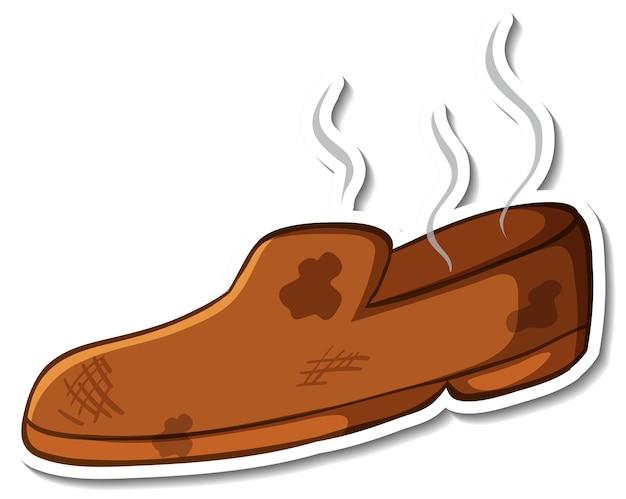 Conception d'autocollant avec des chaussures à odeur sale isolées