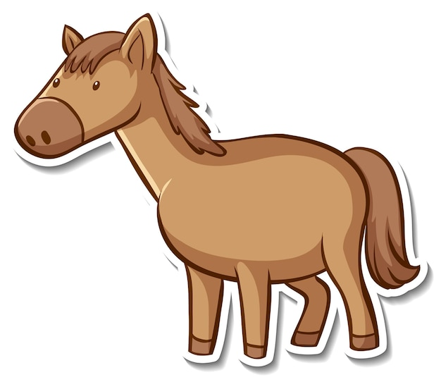Conception d'autocollant avec cheval mignon isolé