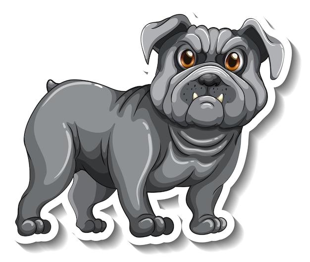 Conception d'autocollant avec un chien carlin isolé