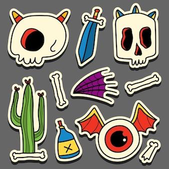 Conception d'autocollant de crâne doodle cartoon dessiné à la main