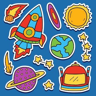 Conception d'autocollant de dessin animé doodle astronaute dessiné à la main