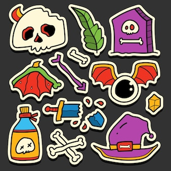 Conception d'autocollant de dessin animé halloween doodle dessinés à la main