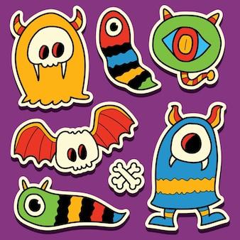 Conception d'autocollant de dessin animé monstre kawaii doodle dessinés à la main