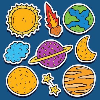 Conception d'autocollant de dessin animé planète doodle dessinés à la main