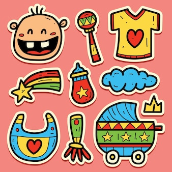 Conception d'autocollant de doodle bébé dessin animé dessiné à la main
