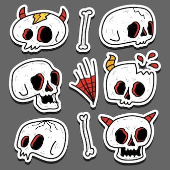 Conception d'autocollant de doodle de crâne de dessin animé dessiné à la main