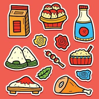 Conception d'autocollant de doodle de dessin animé de nourriture japonaise dessiné à la main