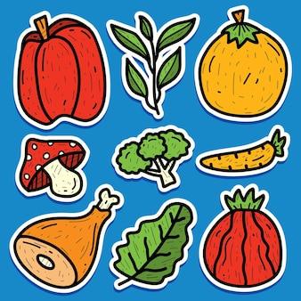 Conception d'autocollant de doodle de légumes dessinés à la main