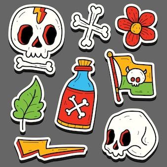 Conception d'autocollant de doodle de tatouage de crâne de dessin animé dessiné à la main