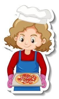 Conception d'autocollant avec une fille de chef tenant un plateau à pizza