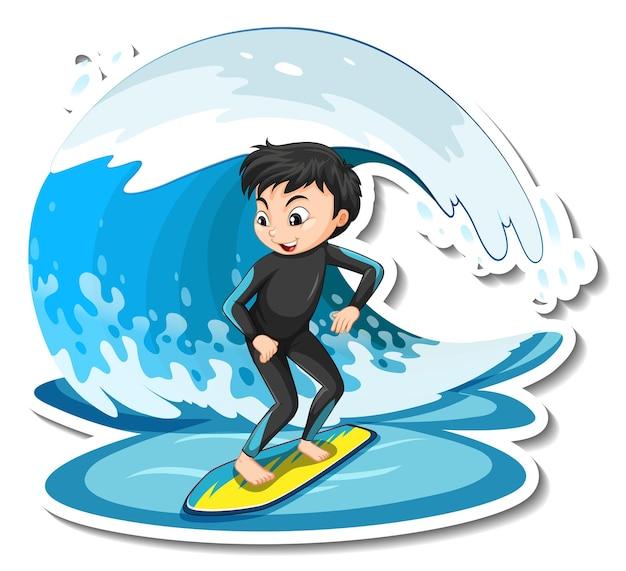 Conception d'autocollant avec une fille sur une planche de surf isolée