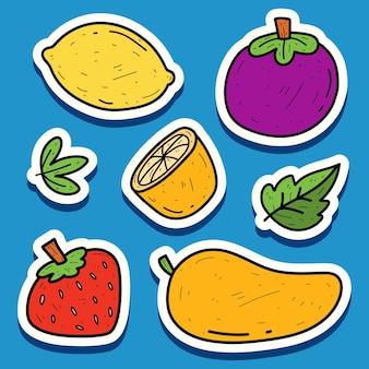 Conception d'autocollant de griffonnage kawaii de fruits de dessin animé dessinés à la main