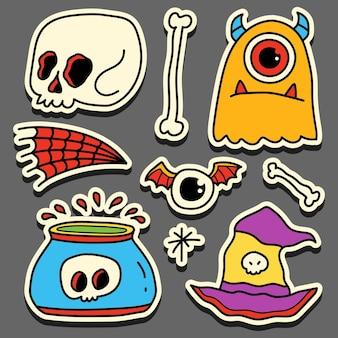 Conception D'autocollant Halloween Doodle Cartoon Dessiné à La Main Vecteur Premium