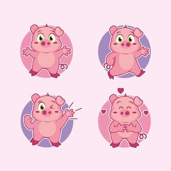 Conception d'autocollant de mascotte de dessin animé de porc