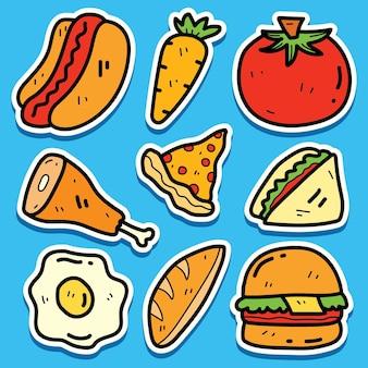 Conception d'autocollant de nourriture de dessin animé dessiné à la main