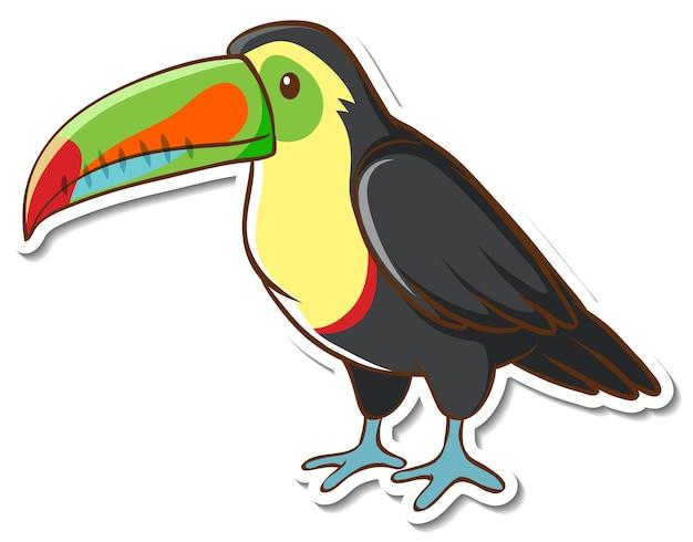 Conception d'autocollant avec un oiseau toucan mignon isolé