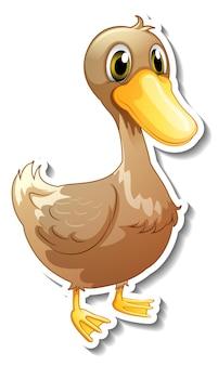 Conception d'autocollant avec un personnage de dessin animé mignon de canard