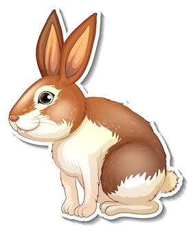 Conception d'autocollant avec un personnage de dessin animé mignon de lapin