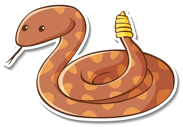 Conception d'autocollant avec un serpent à sonnettes mignon isolé