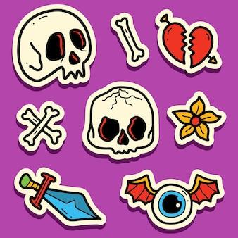 Conception d'autocollant de tatouage de crâne de dessin animé kawaii doodle dessinés à la main