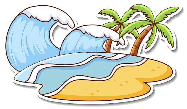 Conception d'autocollant avec vague d'eau de plage isolée