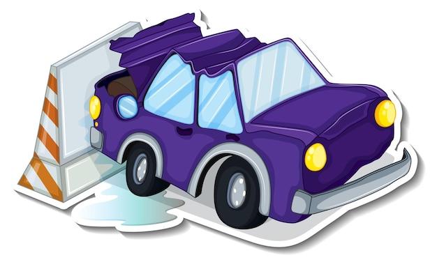 Conception d'autocollant avec voiture accidentée isolée