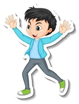 Conception d'autocollants avec le caractère d'un garçon heureux