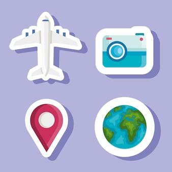 Conception d'autocollants de temps de voyage, tourisme de voyage et thème de voyage