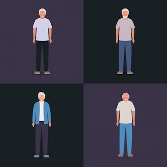 Conception d'avatars de grands-pères, aîné personne âgée famille grands-parents senior et personnes thème illustration