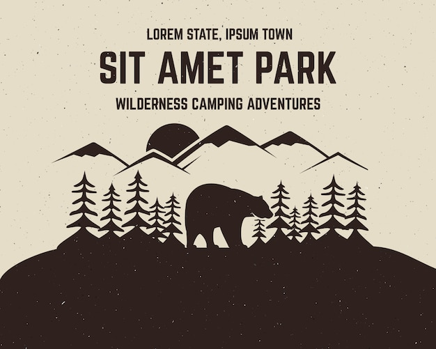 Conception d'aventure vintage avec ours et texte, aventures de camping dans la nature, escalade