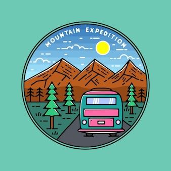 Conception de badge monoline mountain expedition