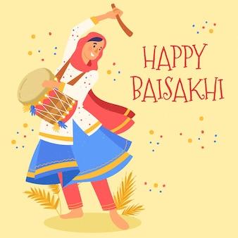 Conception de baisakhi heureux dessinés à la main