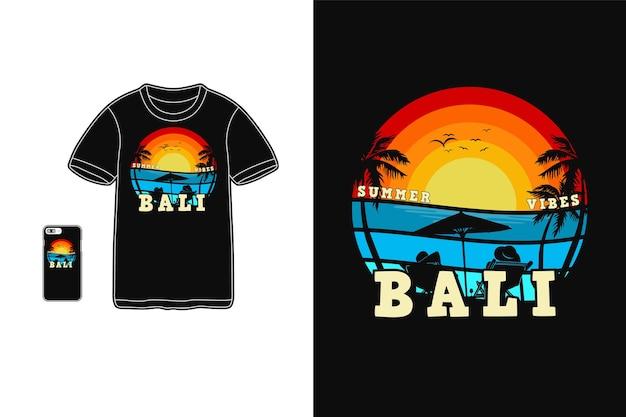 Conception de bali de vibrations de plage pour le style rétro de silhouette de t-shirt