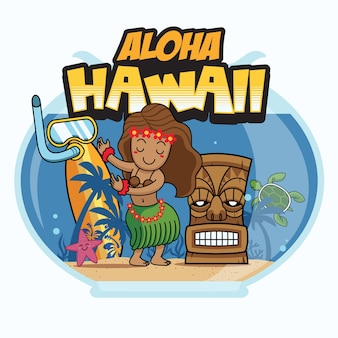 Conception de bande dessinée aloha hawaii