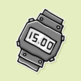 Conception de bande dessinée d'horloge numérique dessinée à la main
