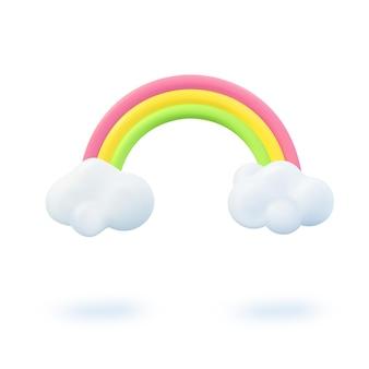 Conception de bannière 3d d'été. arc-en-ciel coloré de scène de rendu réaliste, nuage. objets d'été, affiche web de vacances, dépliant pour enfants, brochure saisonnière, couverture. fond moderne de pépinière