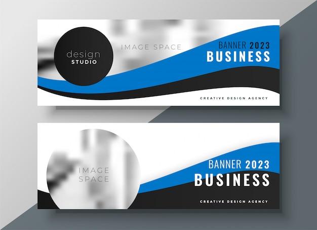 Conception de bannière d'affaires ondulé bleu